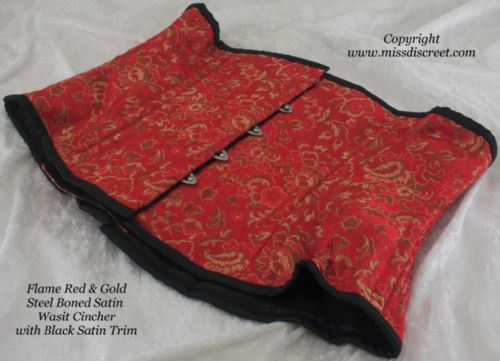 "Flame Red & Gold Underbust Waist Cincher Corset  in Brocade Satin to Suit 25/26"" Waist"